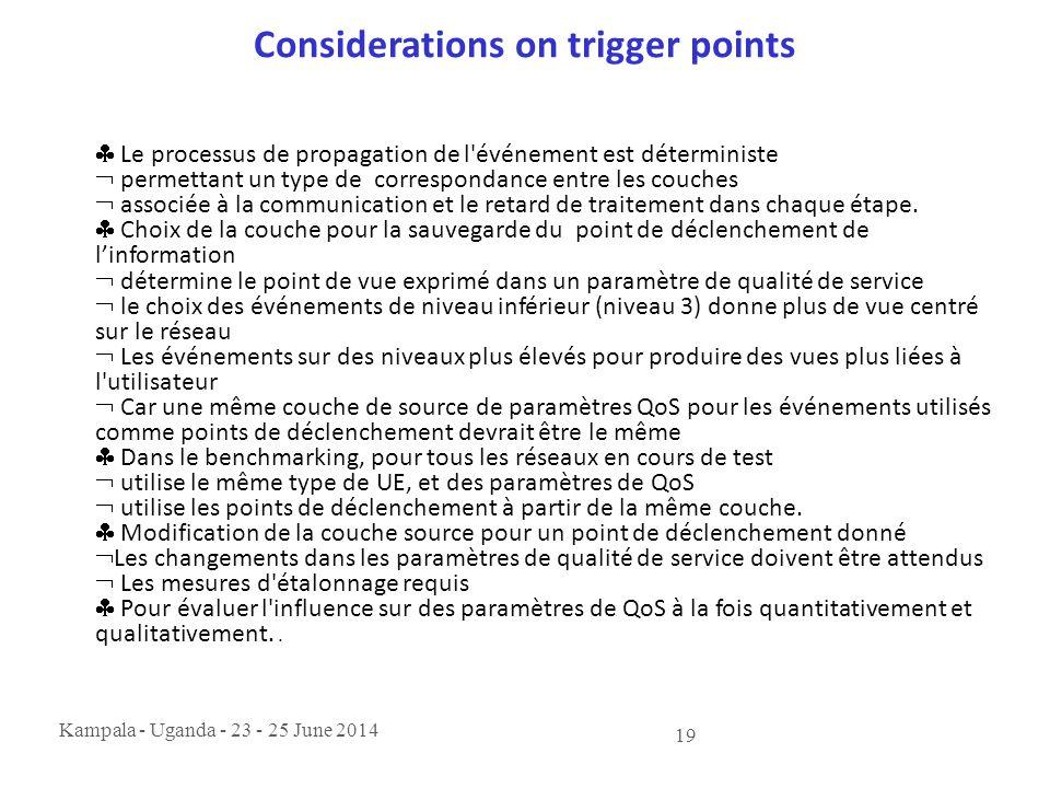Kampala - Uganda - 23 - 25 June 2014 19 Considerations on trigger points  Le processus de propagation de l'événement est déterministe  permettant un