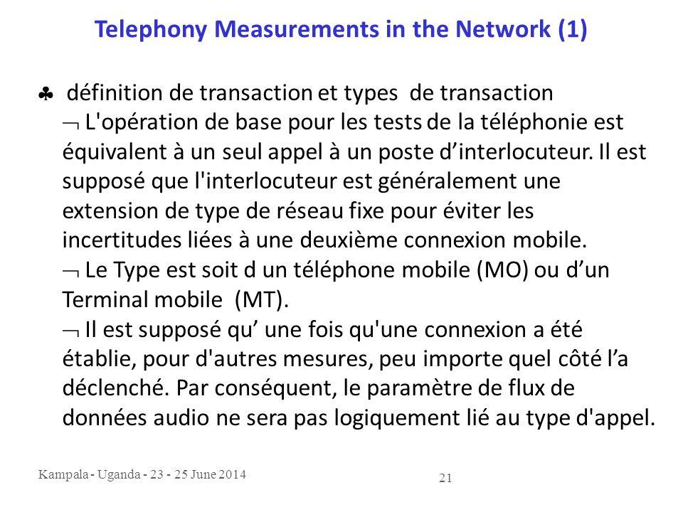 Kampala - Uganda - 23 - 25 June 2014 21 Telephony Measurements in the Network (1)  définition de transaction et types de transaction  L'opération de