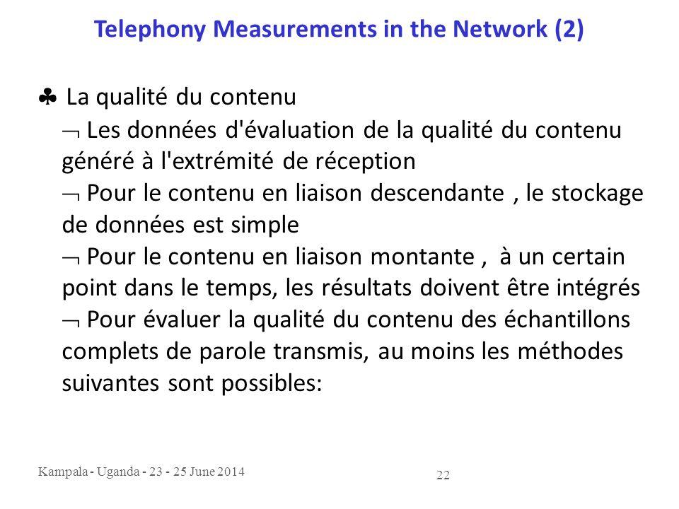 Kampala - Uganda - 23 - 25 June 2014 22 Telephony Measurements in the Network (2)  La qualité du contenu  Les données d'évaluation de la qualité du