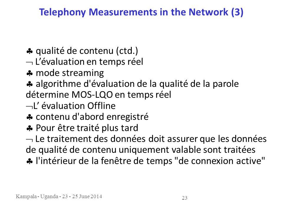 Kampala - Uganda - 23 - 25 June 2014 23 Telephony Measurements in the Network (3)  qualité de contenu (ctd.)  L'évaluation en temps réel  mode stre