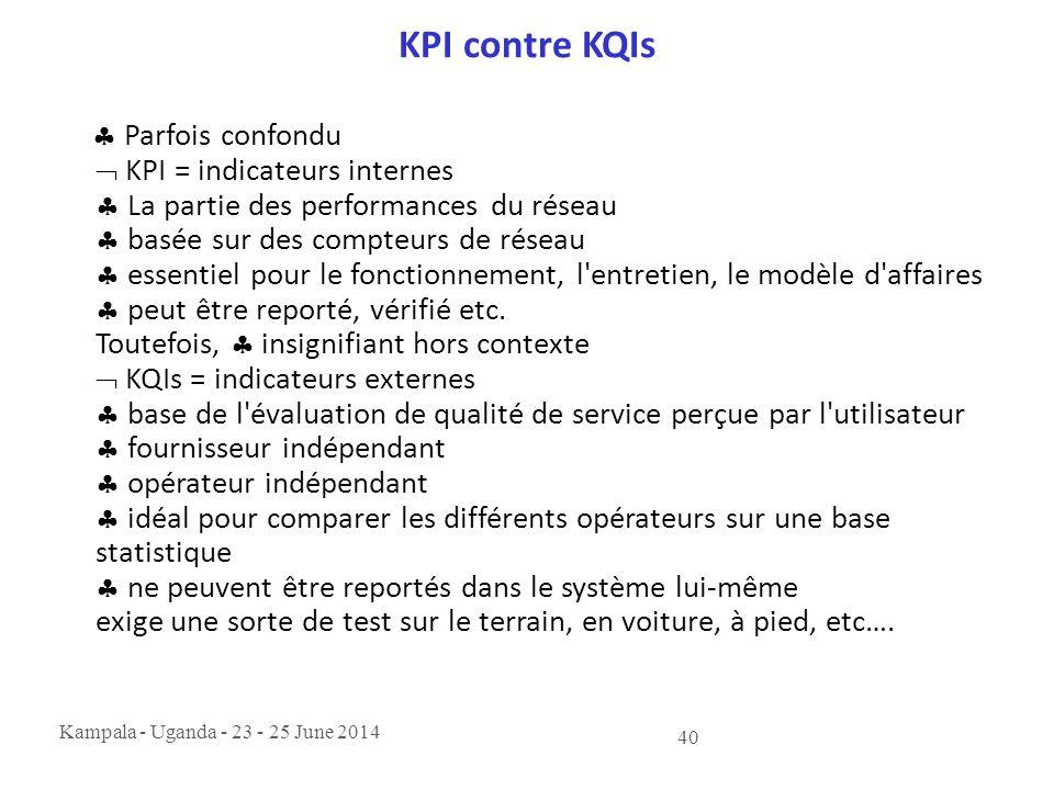 Kampala - Uganda - 23 - 25 June 2014 40 KPI contre KQIs  Parfois confondu  KPI = indicateurs internes  La partie des performances du réseau  basée