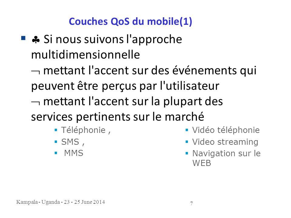 Kampala - Uganda - 23 - 25 June 2014 7 Couches QoS du mobile(1)   Si nous suivons l'approche multidimensionnelle  mettant l'accent sur des événemen
