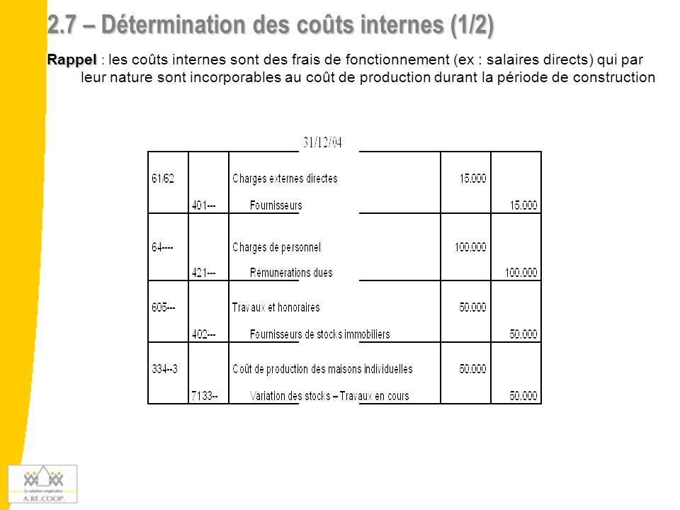 2.7 – Détermination des coûts internes (2/2) Conclusion : les coûts internes se limitent à 10.025