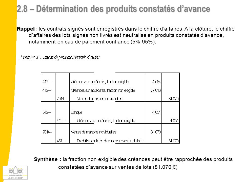 2.9 – Détermination des provisions pour risques & Charges Rappel Rappel : Obligation de passer les provisions pour pertes à la clôture et à terminaison Exemple numérique de provisions à constituer : 1.