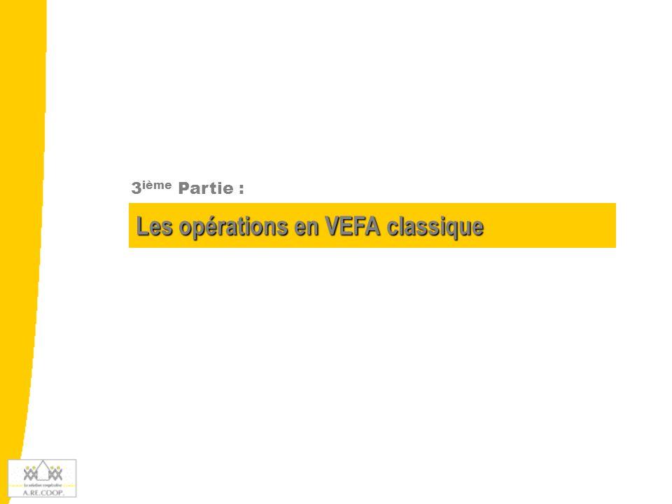 3.1 – Présentation de l'activité en VEFA L'activité en VEFA L'activité en VEFA se caractérise par : L'achat du terrain, l'existence de coûts annexes, et de travaux de VRD Un programme immobilier à comptabiliser à l'opération et non lot par lot Une grille de commercialisation, un budget d'opération, une valeur en stock à l'opération Après la DAT : - la possibilité de livrer les lots au fur et à mesure - l'impossibilité d'inscrire de nouveaux éléments en stock ni de prendre des coûts internes Les sorties de stocks se font normalement à l'opération : - c'est à dire, quand tous les lots sont livrés aux accédants - ou bien, au fur et à mesure des livraisons de lots.
