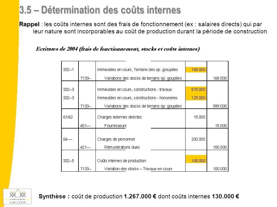 3.6 – Livraison d'un T5 et provision de la marge Rappel Rappel : Obligation de passer les provisions en cas de livraison partielle de l'opération Exemple : livraison du grand T5 (prix de vente : 105.144 €) Provision de la marge à la clôture : Prix de vente (105.144 €) – coût de production (97.810 €) = 7.334 € (marge)