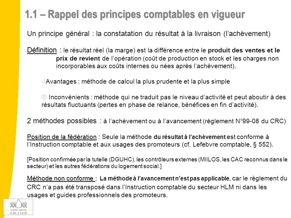 1.2 - Zoom sur le règlement N°99-08 du CRC Le règlement N°99-08 du CRC portant sur « le traitement comptable des contrats à long terme » substitue à la technique des produits nets partiels, désormais supprimée, le choix entre la méthode à l'achèvement ou à la méthode à l'avancement.