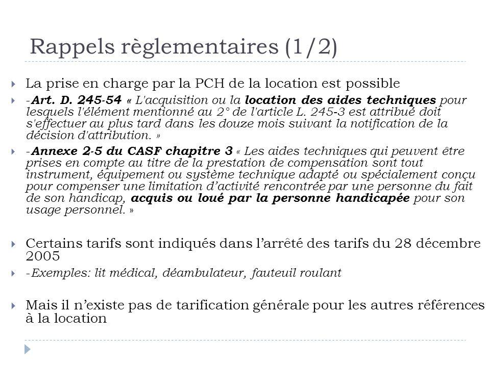 Rappels règlementaires (1/2)  La prise en charge par la PCH de la location est possible  - Art. D. 245-54 « L'acquisition ou la location des aides t