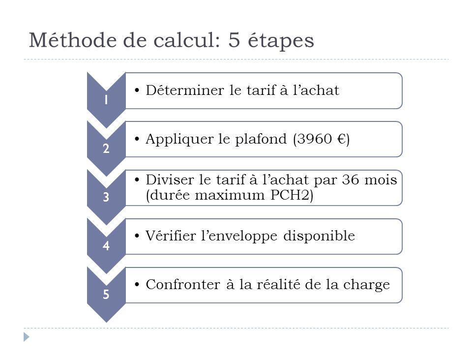 Méthode de calcul: 5 étapes 1 Déterminer le tarif à l'achat 2 Appliquer le plafond (3960 €) 3 Diviser le tarif à l'achat par 36 mois (durée maximum PCH2) 4 Vérifier l'enveloppe disponible 5 Confronter à la réalité de la charge