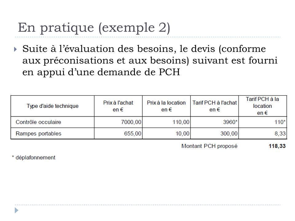 En pratique (exemple 2)  Suite à l'évaluation des besoins, le devis (conforme aux préconisations et aux besoins) suivant est fourni en appui d'une de