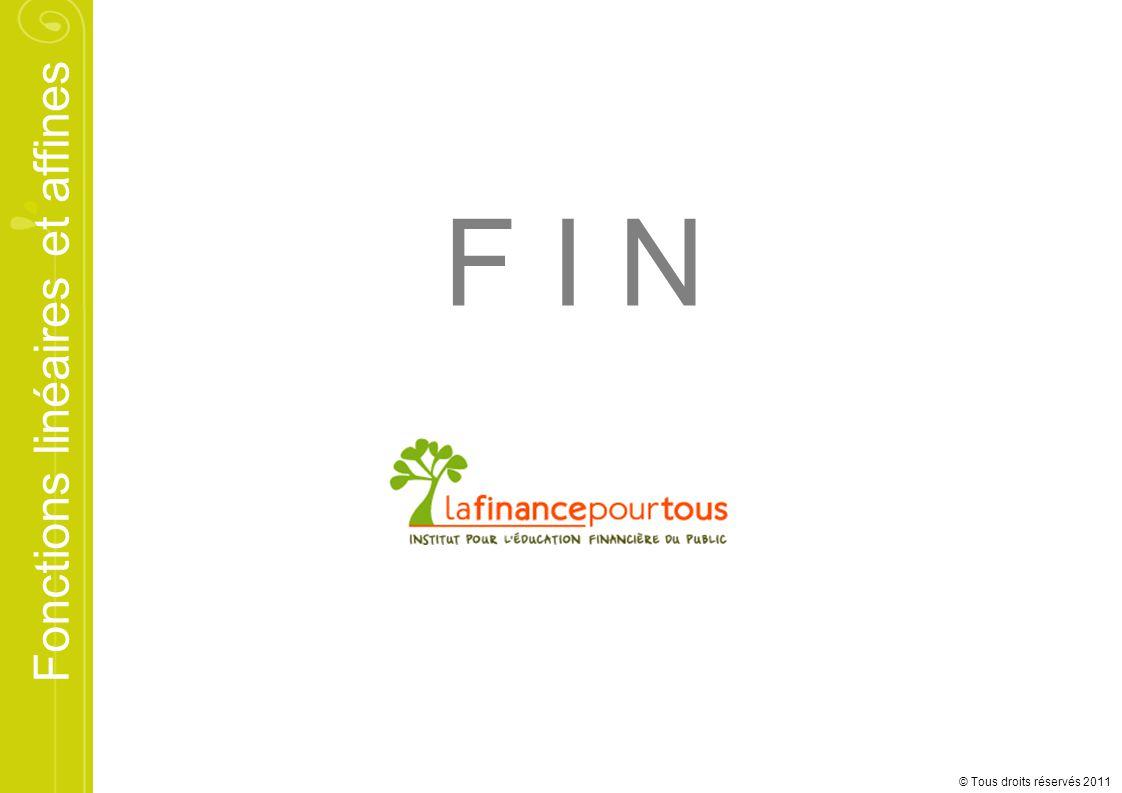 Fonctions linéaires et affines © Tous droits réservés 2011 F I N