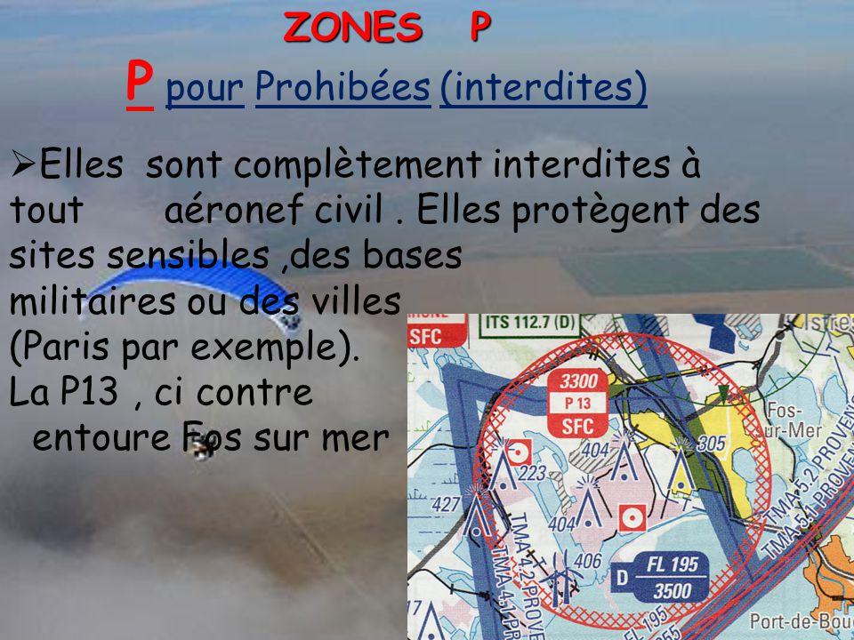 ZONES P P pour Prohibées (interdites)  Elles sont complètement interdites à tout aéronef civil. Elles protègent des sites sensibles,des bases militai