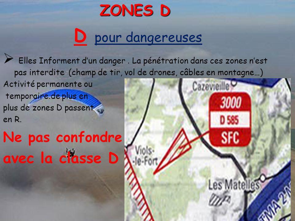 D pour dangereuses  Elles Informent d'un danger. La pénétration dans ces zones n'est pas interdite (champ de tir, vol de drones, câbles en montagne…)