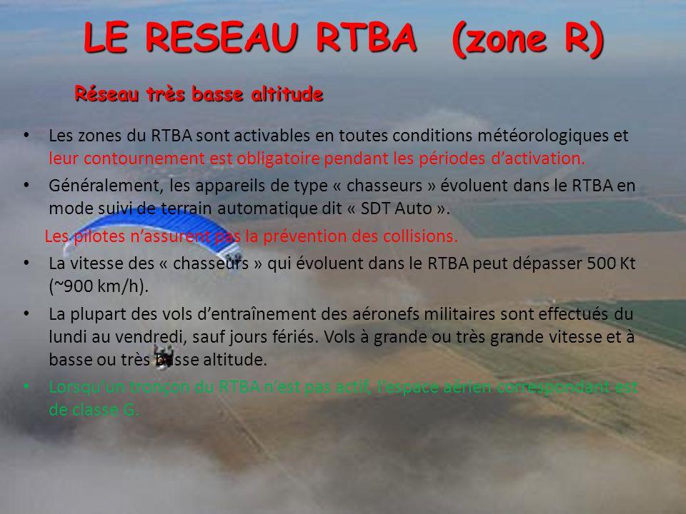 Les zones du RTBA sont activables en toutes conditions météorologiques et leur contournement est obligatoire pendant les périodes d'activation. Généra