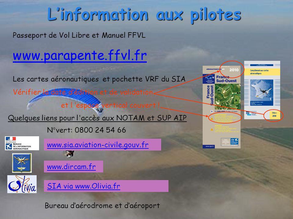 L'information aux pilotes Passeport de Vol Libre et Manuel FFVL www.parapente.ffvl.fr Les cartes aéronautiques et pochette VRF du SIA Vérifier la date d'édition et de validation et l 'espace vertical couvert .
