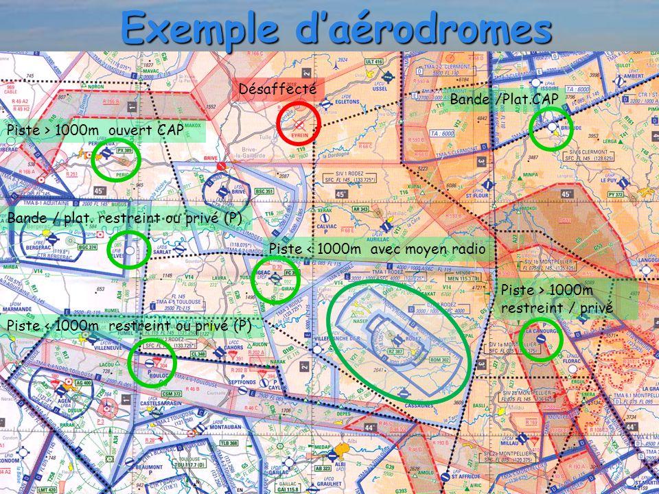 Exemple d'aérodromes Piste > 1000m ouvert CAP Piste < 1000m restreint ou privé (P) Bande / plat. restreint ou privé (P) Piste < 1000m avec moyen radio