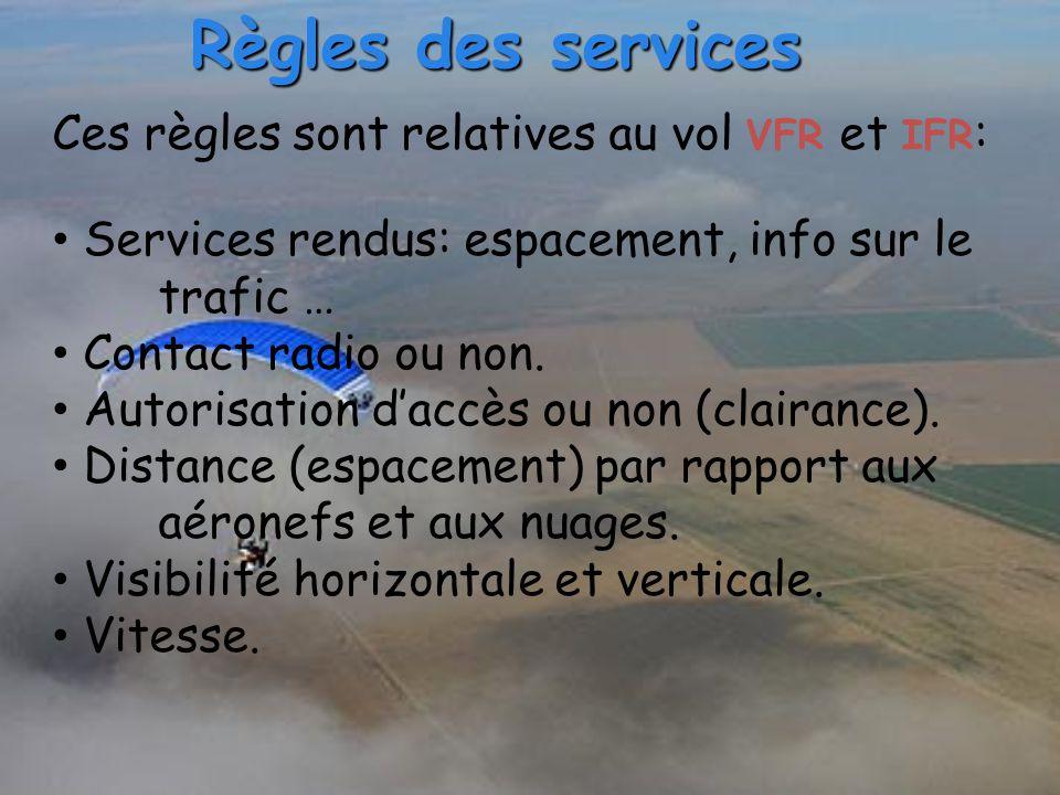 Ces règles sont relatives au vol VFR et IFR : Services rendus: espacement, info sur le trafic … Contact radio ou non. Autorisation d'accès ou non (cla