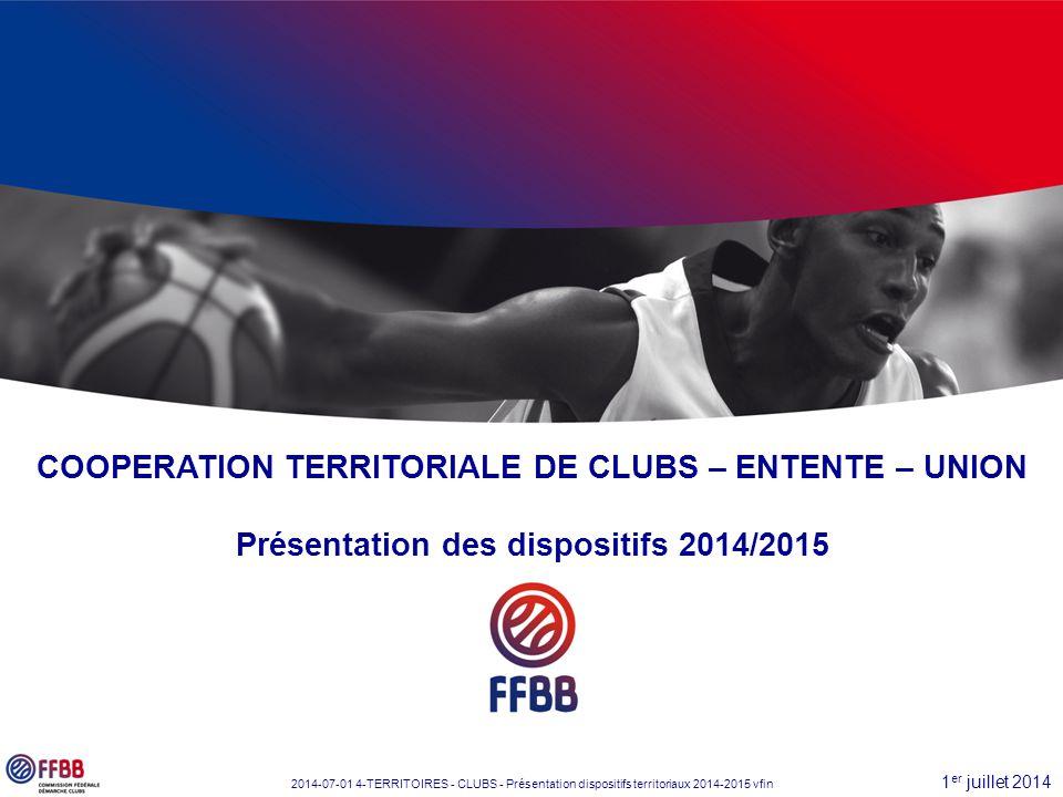 1 er juillet 2014 2014-07-01 4-TERRITOIRES - CLUBS - Présentation dispositifs territoriaux 2014-2015 vfin COOPERATION TERRITORIALE DE CLUBS – ENTENTE