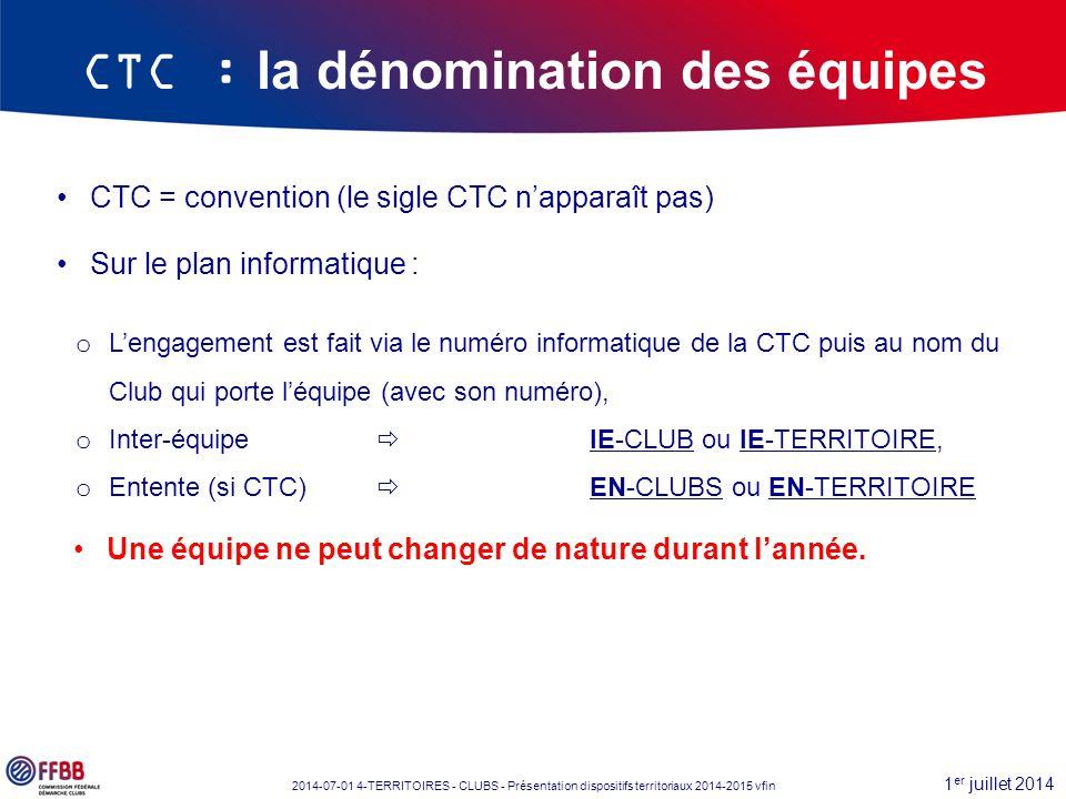 1 er juillet 2014 2014-07-01 4-TERRITOIRES - CLUBS - Présentation dispositifs territoriaux 2014-2015 vfin CTC : la dénomination des équipes CTC = conv