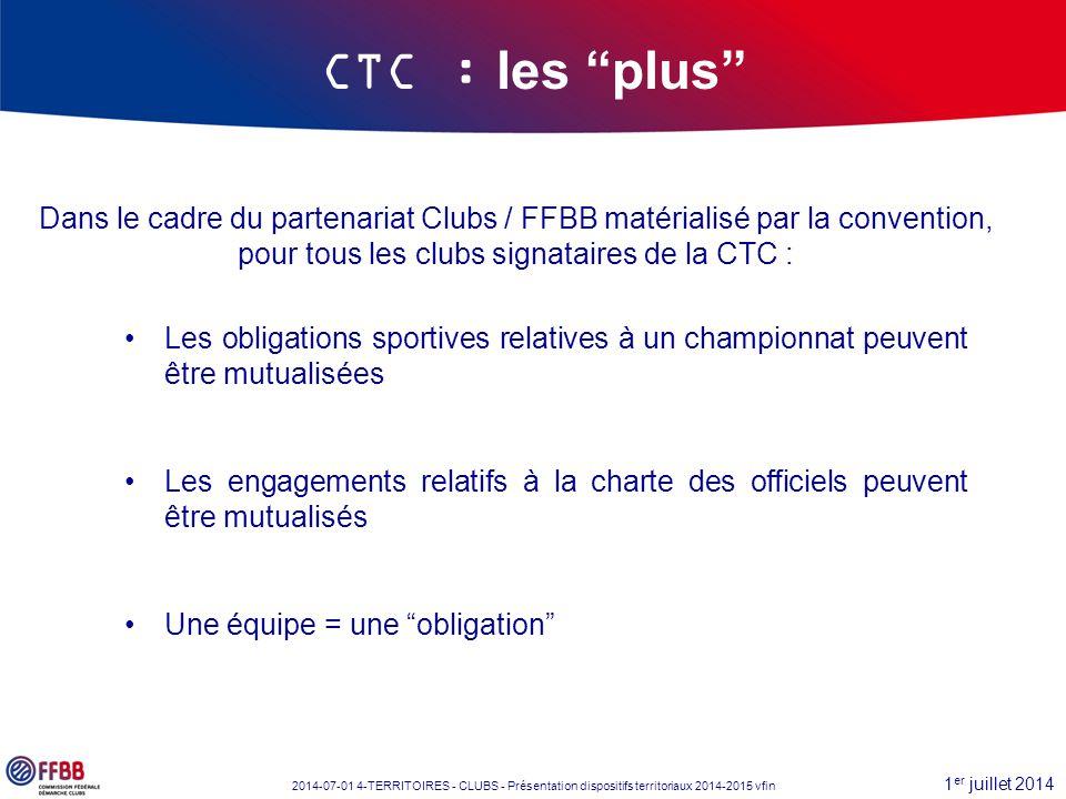 """1 er juillet 2014 2014-07-01 4-TERRITOIRES - CLUBS - Présentation dispositifs territoriaux 2014-2015 vfin CTC : les """"plus"""" Dans le cadre du partenaria"""