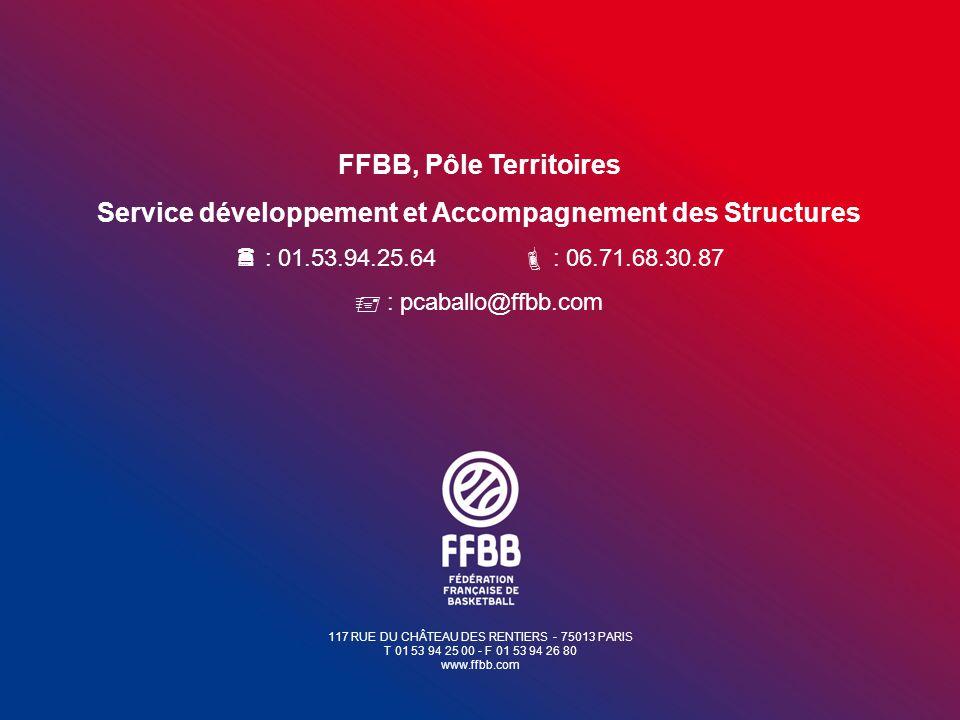 117 RUE DU CHÂTEAU DES RENTIERS - 75013 PARIS T 01 53 94 25 00 - F 01 53 94 26 80 www.ffbb.com FFBB, Pôle Territoires Service développement et Accompa