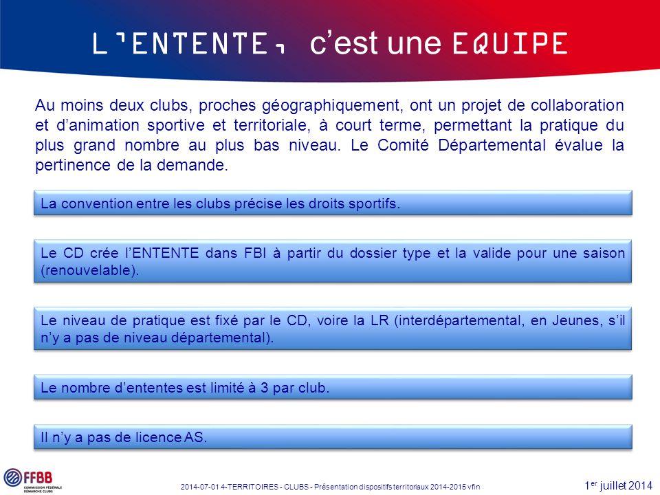 1 er juillet 2014 2014-07-01 4-TERRITOIRES - CLUBS - Présentation dispositifs territoriaux 2014-2015 vfin Le CD crée l'ENTENTE dans FBI à partir du do