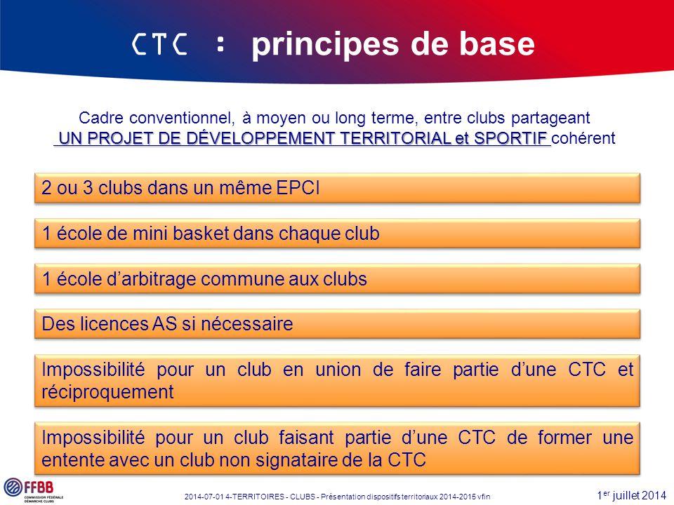 1 er juillet 2014 2014-07-01 4-TERRITOIRES - CLUBS - Présentation dispositifs territoriaux 2014-2015 vfin CTC : principes de base Cadre conventionnel,