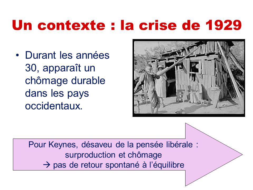 Un contexte : la crise de 1929 Durant les années 30, apparaît un chômage durable dans les pays occidentaux. Pour Keynes, désaveu de la pensée libérale