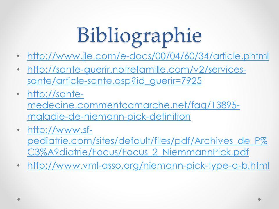 Bibliographie http://www.jle.com/e-docs/00/04/60/34/article.phtml http://sante-guerir.notrefamille.com/v2/services- sante/article-sante.asp?id_guerir=7925 http://sante-guerir.notrefamille.com/v2/services- sante/article-sante.asp?id_guerir=7925 http://sante- medecine.commentcamarche.net/faq/13895- maladie-de-niemann-pick-definition http://sante- medecine.commentcamarche.net/faq/13895- maladie-de-niemann-pick-definition http://www.sf- pediatrie.com/sites/default/files/pdf/Archives_de_P% C3%A9diatrie/Focus/Focus_2_NiemmannPick.pdf http://www.sf- pediatrie.com/sites/default/files/pdf/Archives_de_P% C3%A9diatrie/Focus/Focus_2_NiemmannPick.pdf http://www.vml-asso.org/niemann-pick-type-a-b.html