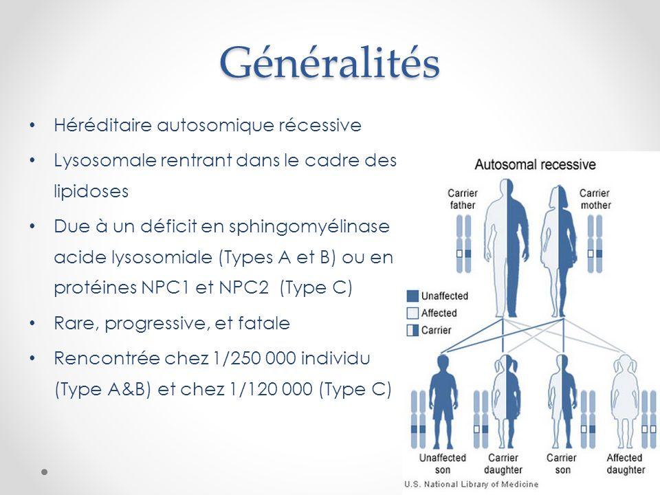 Généralités Héréditaire autosomique récessive Lysosomale rentrant dans le cadre des lipidoses Due à un déficit en sphingomyélinase acide lysosomiale (Types A et B) ou en protéines NPC1 et NPC2 (Type C) Rare, progressive, et fatale Rencontrée chez 1/250 000 individu (Type A&B) et chez 1/120 000 (Type C)