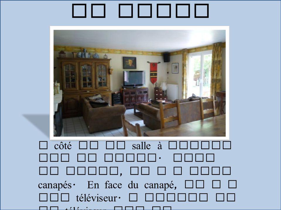 A côté de la salle à manger est le salon. Dans le salon, il y a deux canapés. En face du canapé, il y a une téléviseur. A gauche de la téléviseur est