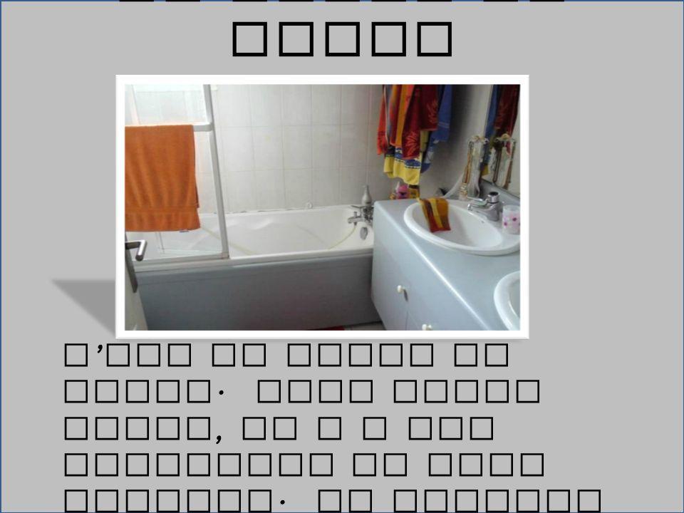 C ' est la salle de bains. Dans cette piece, il y a une baignoire et deux lavabos. Ma famille va laver dans la salle de bains. La Salle de Bains