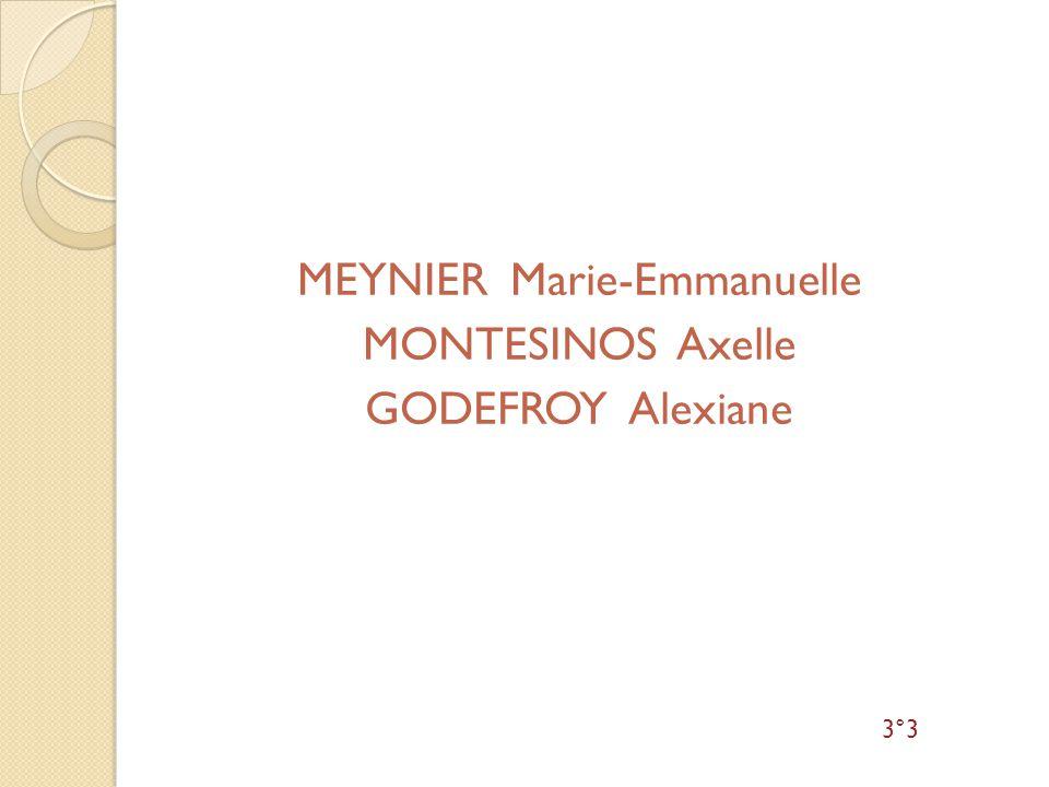 MEYNIER Marie-Emmanuelle MONTESINOS Axelle GODEFROY Alexiane 3°3