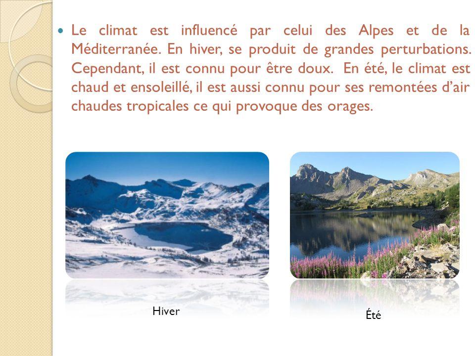 Le climat est influencé par celui des Alpes et de la Méditerranée. En hiver, se produit de grandes perturbations. Cependant, il est connu pour être do