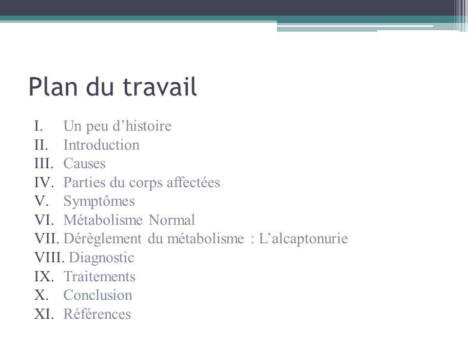 Plan du travail I.Un peu d'histoire II.Introduction III.Causes IV.Parties du corps affectées V.Symptômes VI.Métabolisme Normal VII.Dérèglement du méta