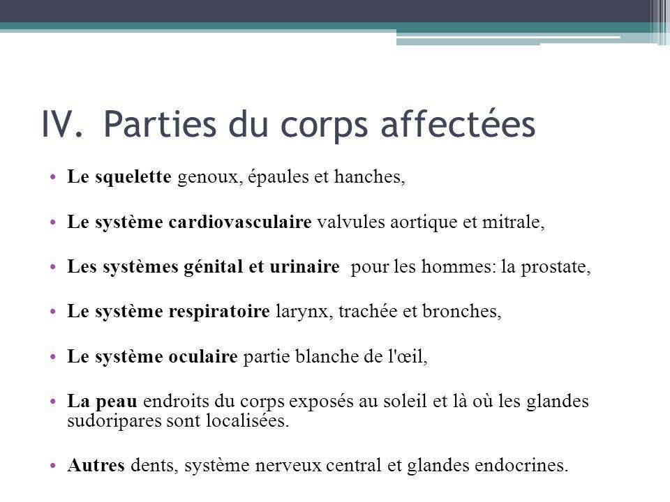 IV.Parties du corps affectées Le squelette genoux, épaules et hanches, Le système cardiovasculaire valvules aortique et mitrale, Les systèmes génital