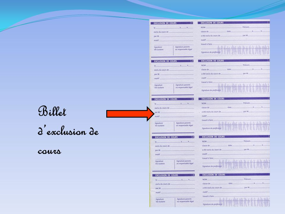 Billet d'exclusion de cours