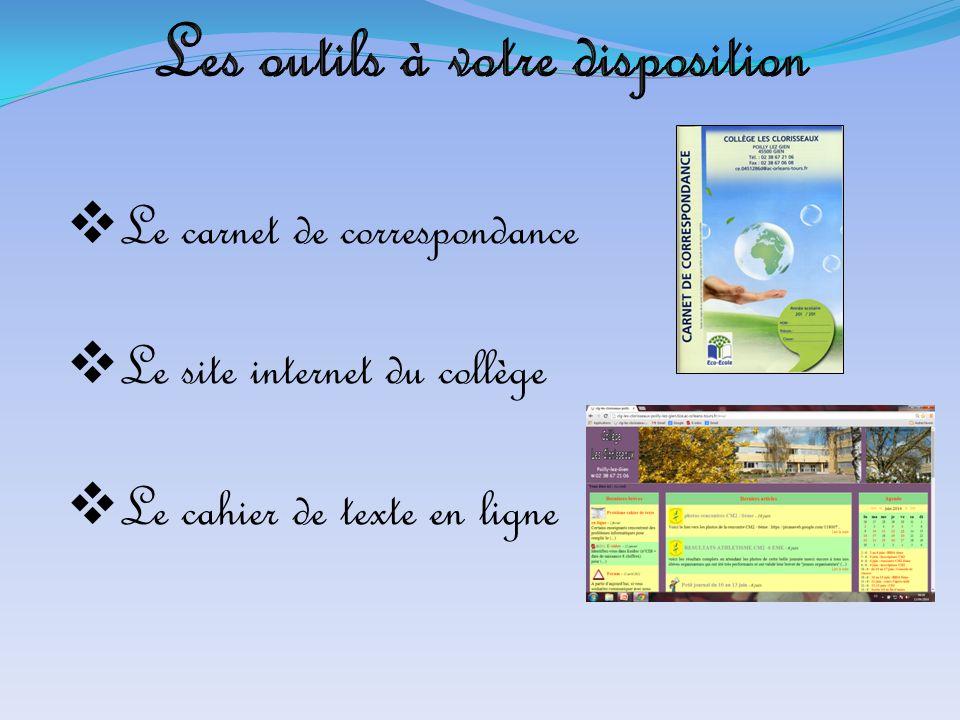  Le carnet de correspondance  Le site internet du collège  Le cahier de texte en ligne