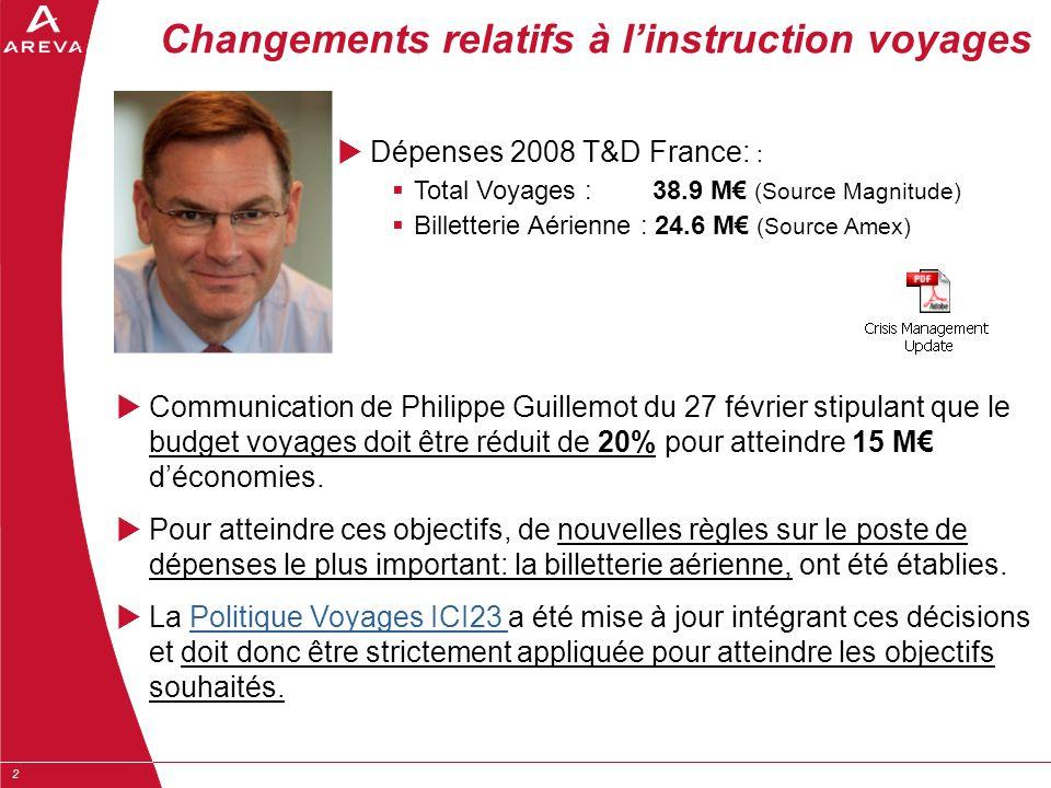 2  Communication de Philippe Guillemot du 27 février stipulant que le budget voyages doit être réduit de 20% pour atteindre 15 M€ d'économies.  Pour