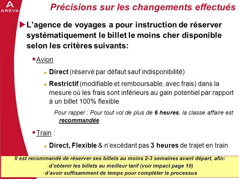 3 Précisions sur les changements effectués  L'agence de voyages a pour instruction de réserver systématiquement le billet le moins cher disponible se