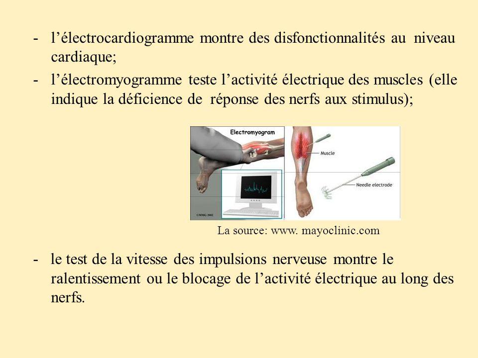 -l'électrocardiogramme montre des disfonctionnalités au niveau cardiaque; -l'électromyogramme teste l'activité électrique des muscles (elle indique la déficience de réponse des nerfs aux stimulus); - le test de la vitesse des impulsions nerveuse montre le ralentissement ou le blocage de l'activité électrique au long des nerfs.
