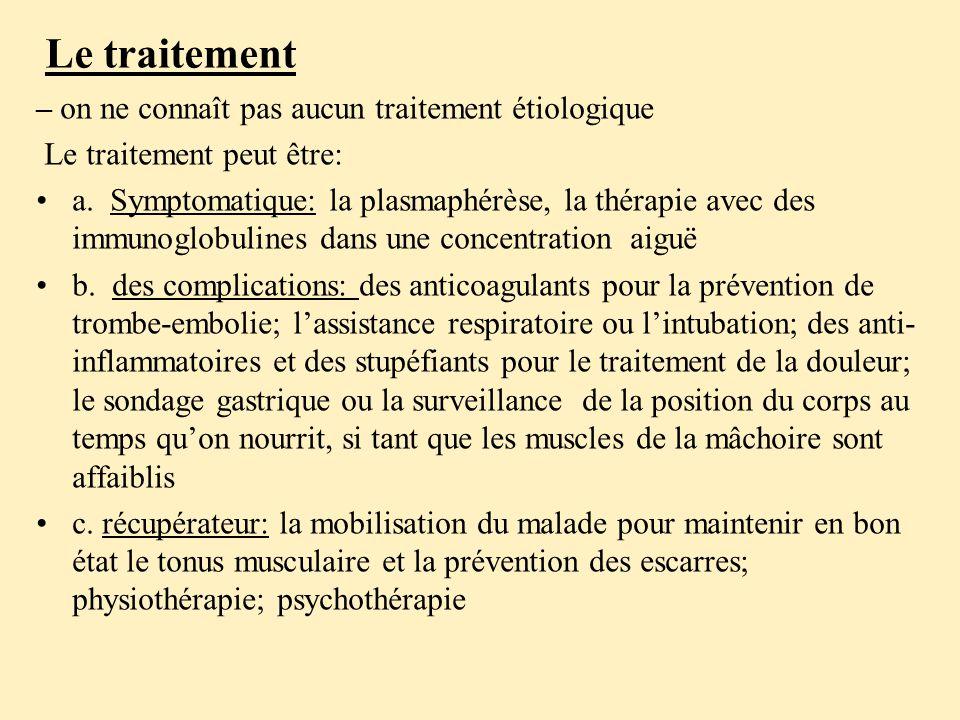 – on ne connaît pas aucun traitement étiologique Le traitement peut être: a.