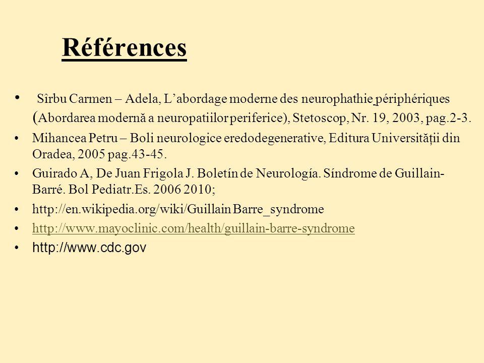 Références Sîrbu Carmen – Adela, L'abordage moderne des neurophathie périphériques ( Abordarea modernă a neuropatiilor periferice), Stetoscop, Nr.