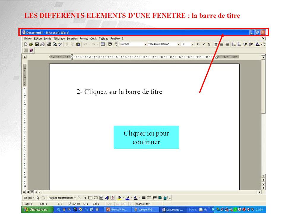 LES DIFFERENTS ELEMENTS D'UNE FENETRE : la barre d'outil Cliquer ici pour continuer 1- Cliquez sur la barre d'outil de Word