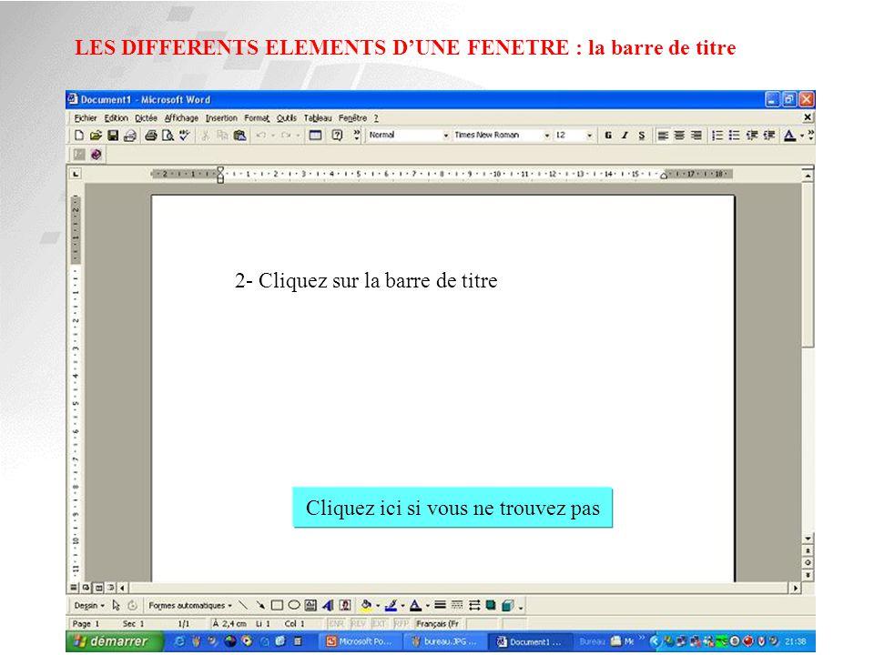LES DIFFERENTS ELEMENTS D'UNE FENETRE : la barre d'outil 1- Cliquez sur la barre d'outil de Word Cliquez ici si vous ne trouvez pas