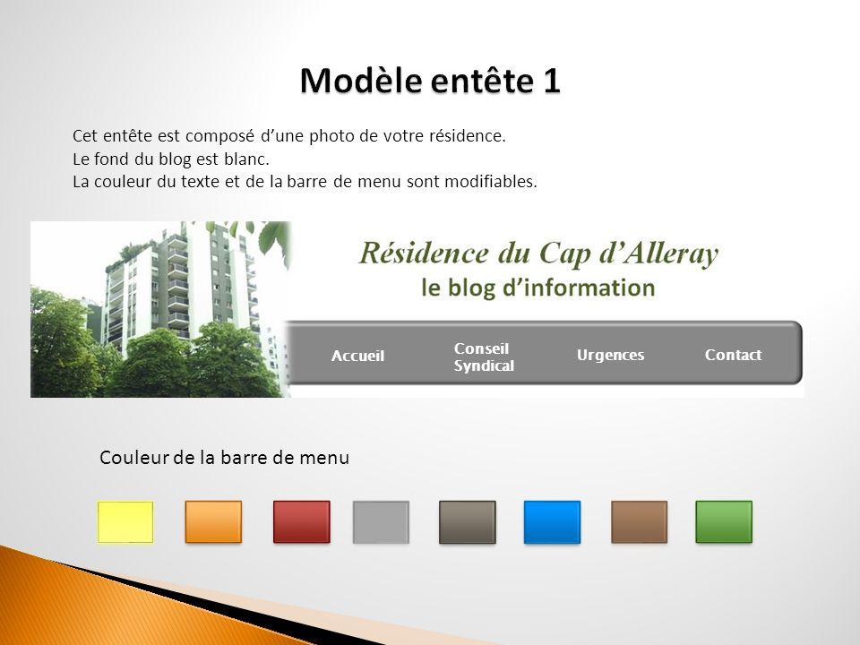 Cet entête est composé d'une photo de votre résidence. Le fond du blog est blanc. La couleur du texte et de la barre de menu sont modifiables. Accueil