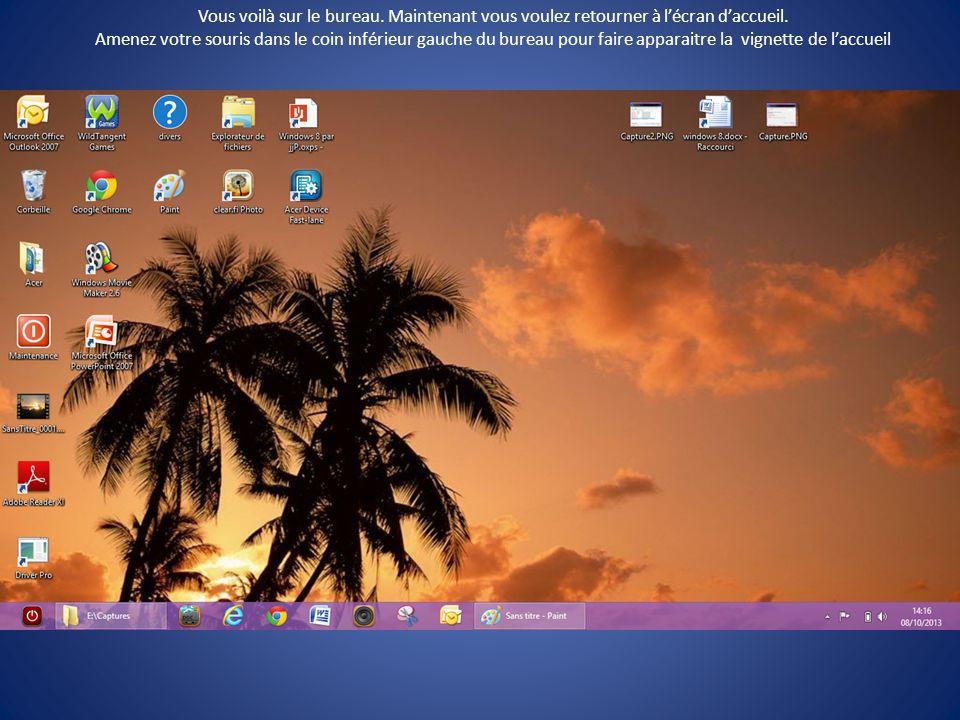 Vous êtes sur l'écran d'accueil, cliquez sur l'image du bureau pour y accéder