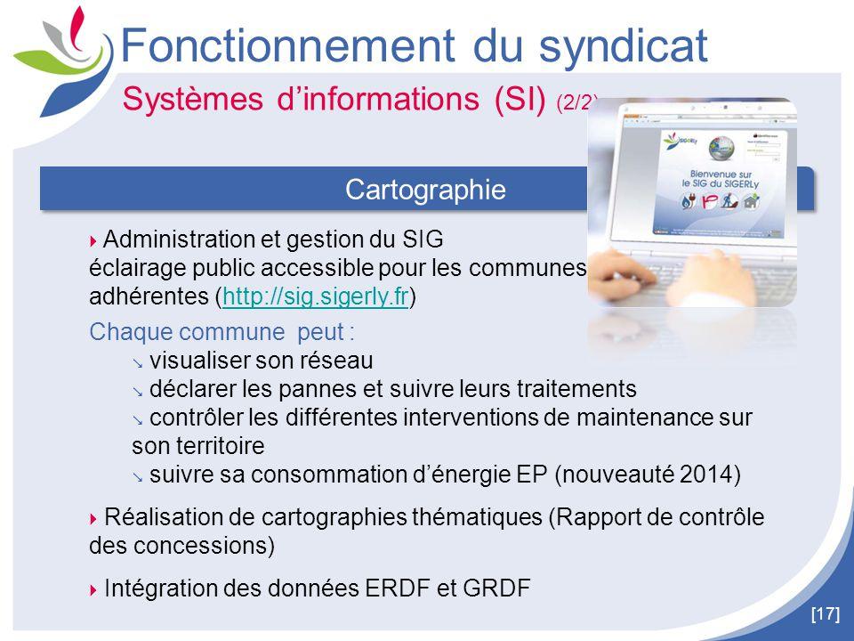 [17] Fonctionnement du syndicat  Administration et gestion du SIG éclairage public accessible pour les communes adhérentes (http://sig.sigerly.fr)htt