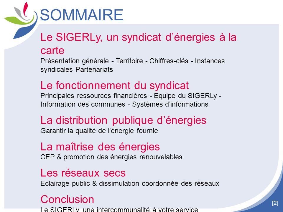 [2] SOMMAIRE Le SIGERLy, un syndicat d'énergies à la carte Présentation générale - Territoire - Chiffres-clés - Instances syndicales Partenariats Le f