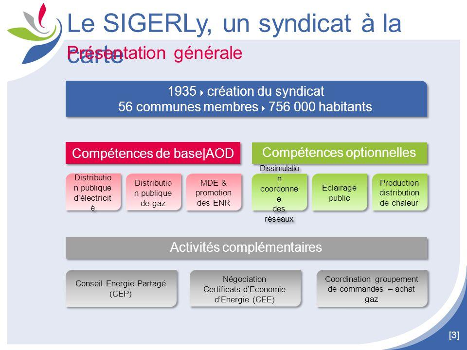 [4] Son territoire 11 communes adhérentes à la compétence Réseau de chaleur 46 communes adhérentes au CEP 34 communes adhérentes à la compétence EP Le SIGERLy, un syndicat à la carte 56 communes adhérentes à la compétence Dissimulation coordonnée des réseaux